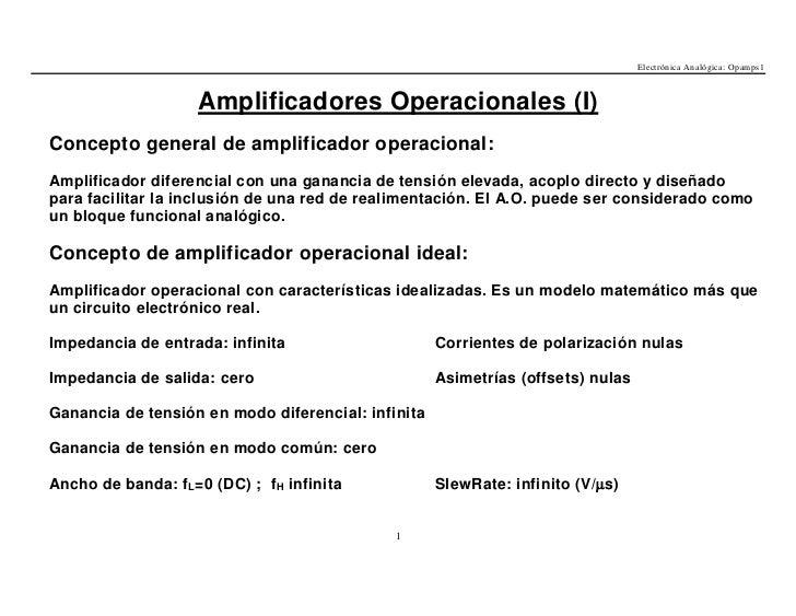 Electrónica Analógica: Opamps1                    Amplificadores Operacionales (I)Concepto general de amplificador operaci...