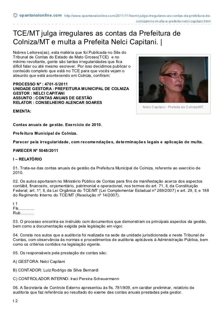 opantanalonline.com http://www.opantanalonline.com/2011/11/tcemt-julga-irregulares-as-contas-da-prefeitura-de-            ...
