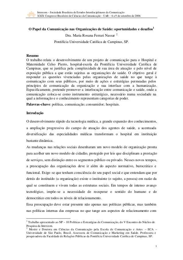 Intercom – Sociedade Brasileira de Estudos Interdisciplinares da Comunicação XXIX Congresso Brasileiro de Ciências da Comu...