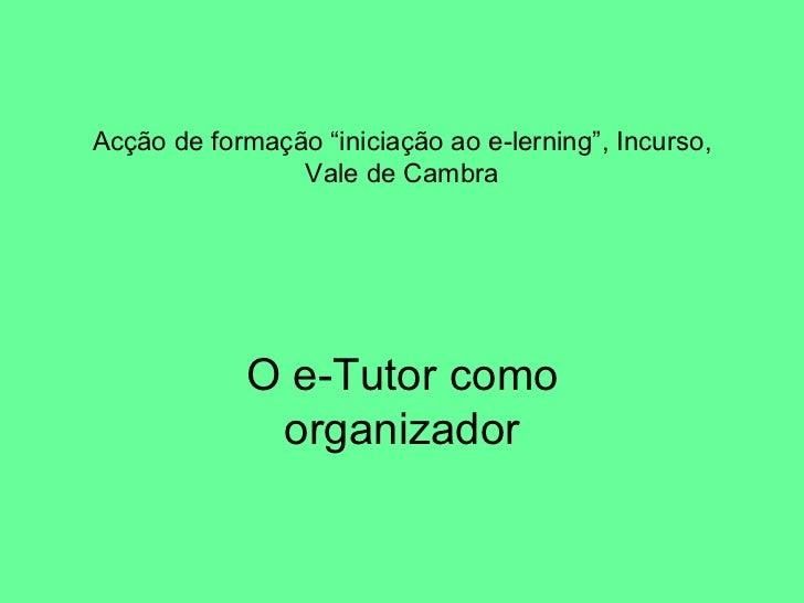 """Acção de formação """"iniciação ao e-lerning"""", Incurso, Vale de Cambra O e-Tutor como organizador"""