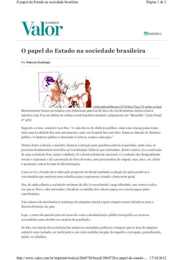 O papel do Estado na sociedade brasileira                                                             Página 1 de 3       ...