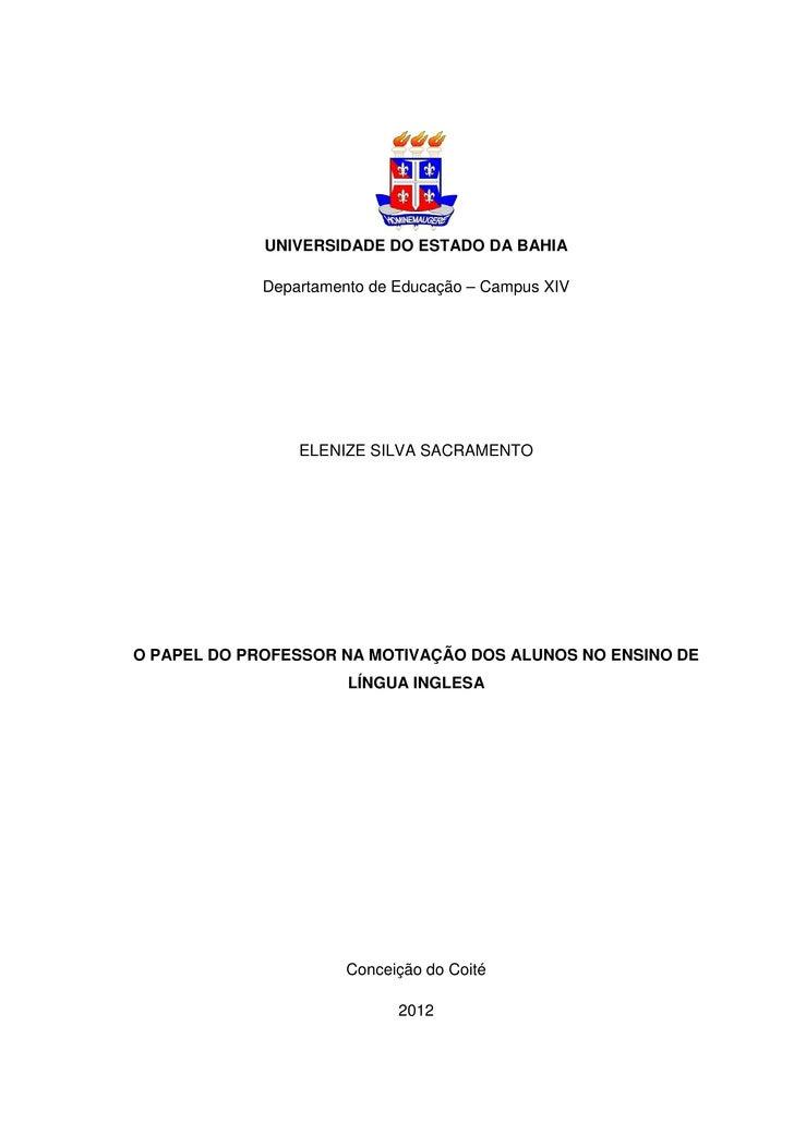 UNIVERSIDADE DO ESTADO DA BAHIA             Departamento de Educação – Campus XIV                 ELENIZE SILVA SACRAMENTO...