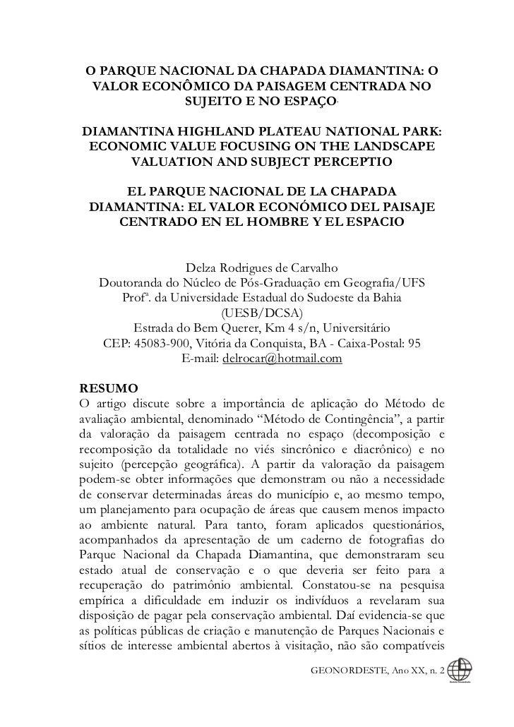O PARQUE NACIONAL DA CHAPADA DIAMANTINA: O  VALOR ECONÔMICO DA PAISAGEM CENTRADA NO             SUJEITO E NO ESPAÇO.DIAMAN...