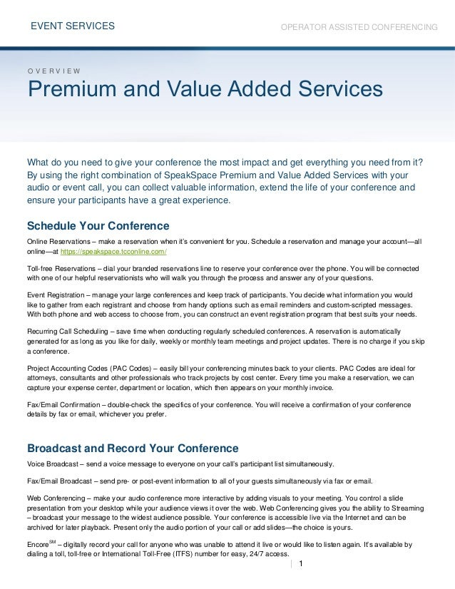 Premium and Value Added Services
