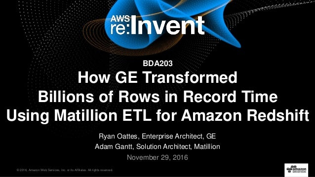 © 2016, Amazon Web Services, Inc. or its Affiliates. All rights reserved. Ryan Oattes, Enterprise Architect, GE Adam Gantt...