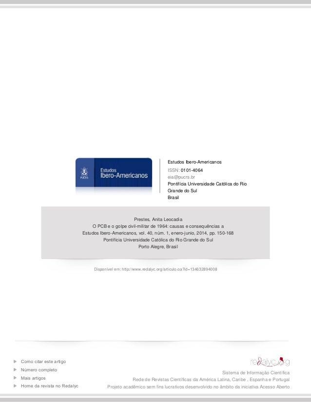 Estudos Ibero-Americanos ISSN: 0101-4064 eia@pucrs.br Pontifícia Universidade Católica do Rio Grande do Sul Brasil Prestes...