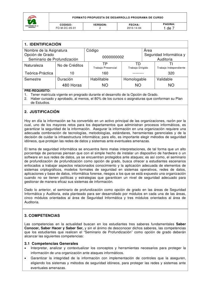 FORMATO PROPUESTA DE DESARROLLO PROGRAMA DE CURSO                      CODIGO:              VERSION:               FECHA: ...