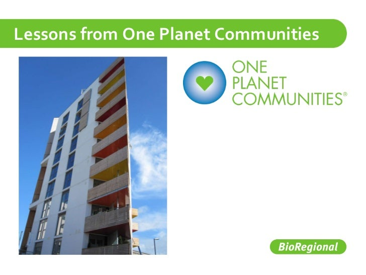 Lessons from One Planet Communities