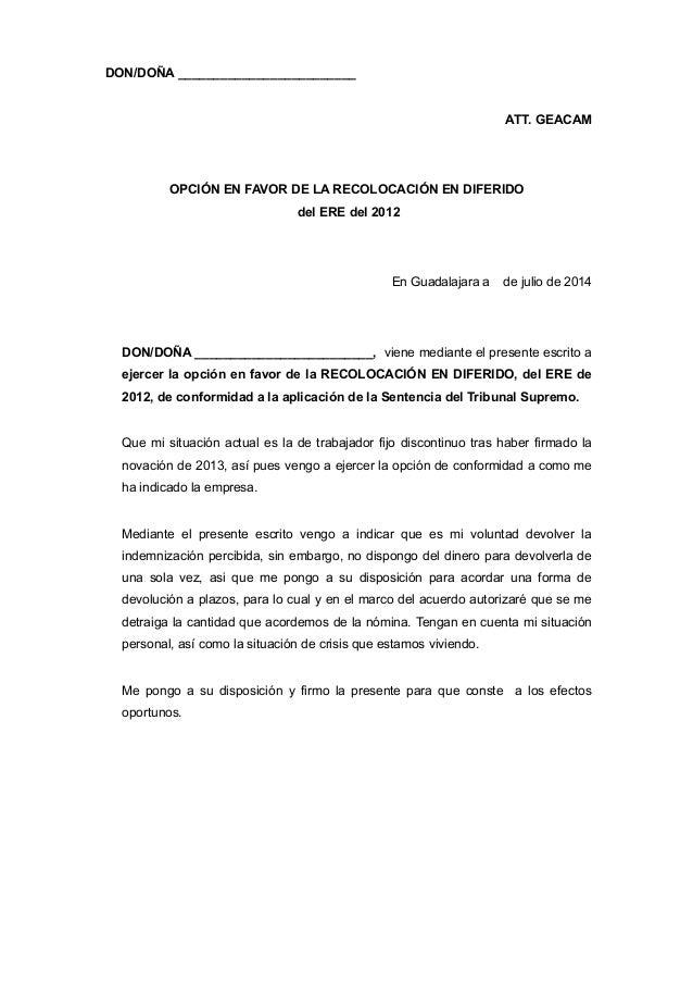 DON/DOÑA _________________________ ATT. GEACAM OPCIÓN EN FAVOR DE LA RECOLOCACIÓN EN DIFERIDO del ERE del 2012 En Guadalaj...