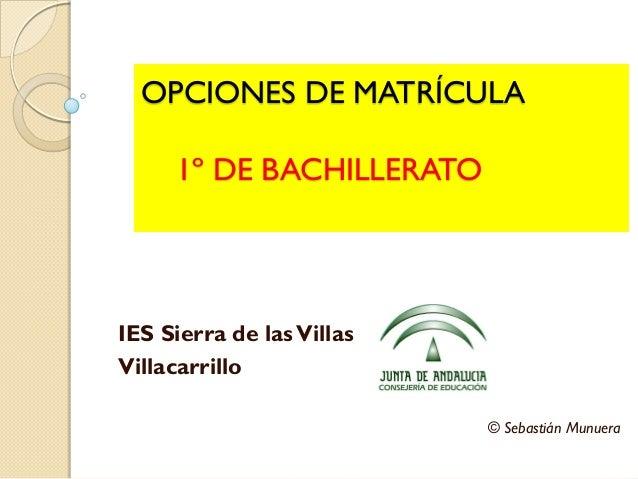 OPCIONES DE MATRÍCULA 1º DE BACHILLERATO IES Sierra de lasVillas Villacarrillo © Sebastián Munuera