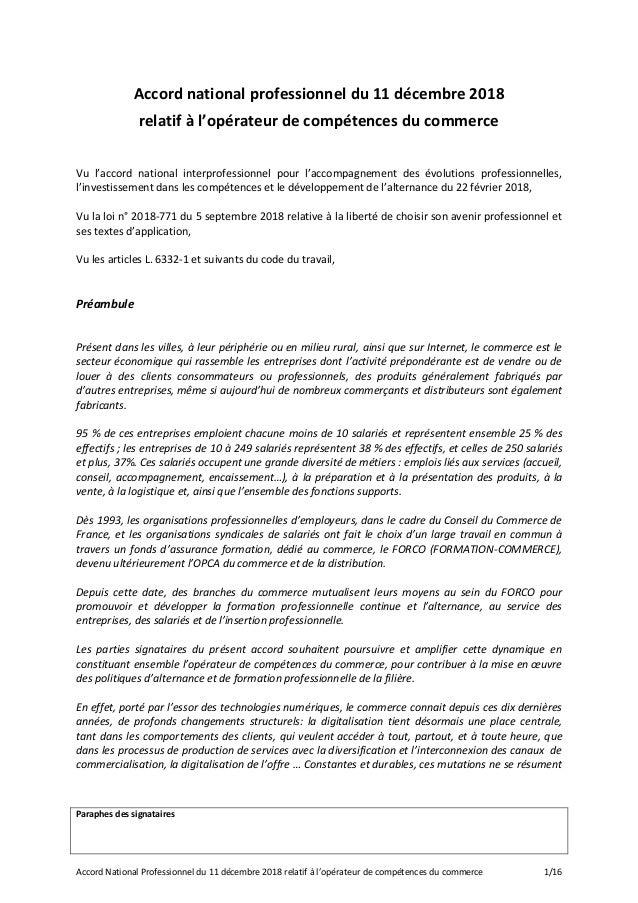 Paraphes des signataires Accord National Professionnel du 11 décembre 2018 relatif à l'opérateur de compétences du commerc...