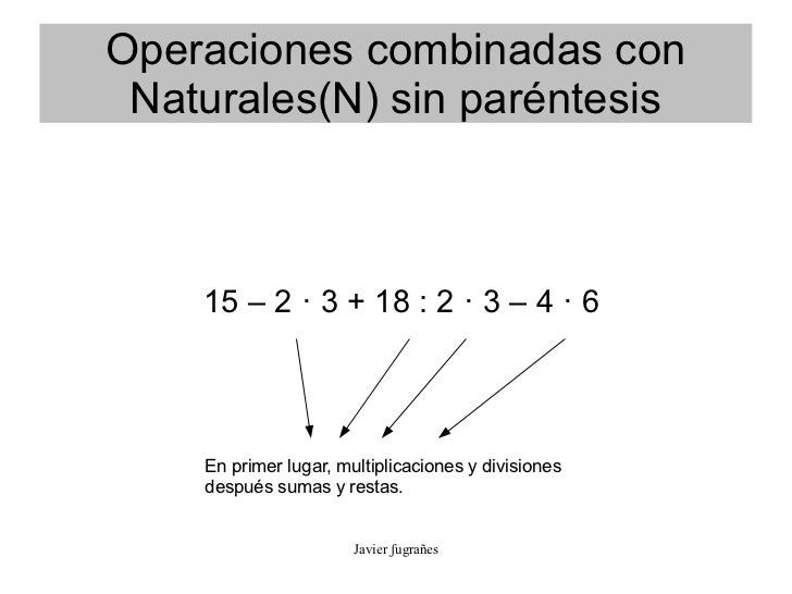 Operaciones Combinadas Naturales Sencillas