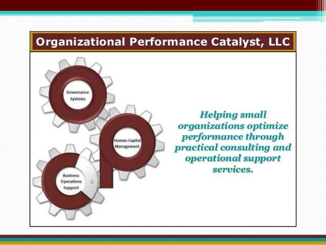 Organizational Performance Catalyst, LLC  Helping small  organizations optimize  performance through  practical consulting...