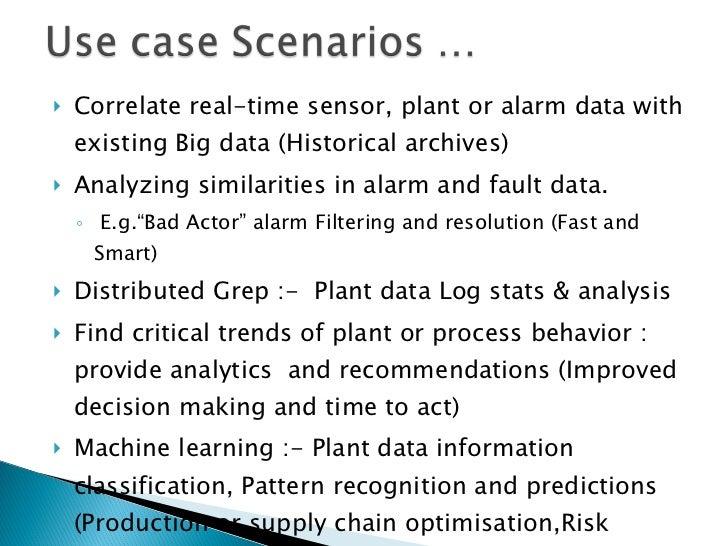 <ul><li>Correlate real-time sensor, plant or alarm data with existing Big data (Historical archives) </li></ul><ul><li>Ana...