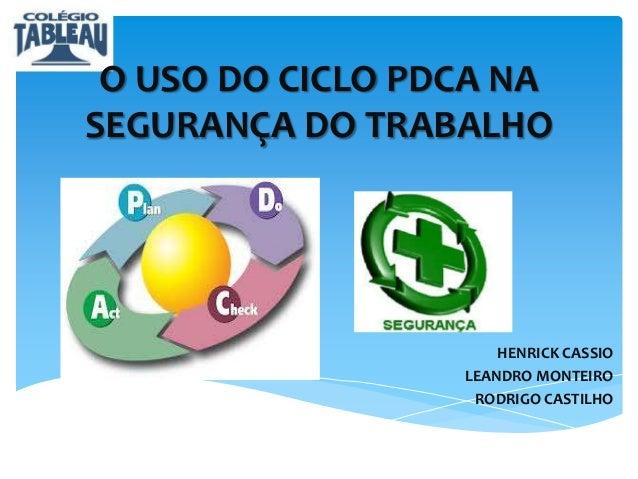 O USO DO CICLO PDCA NA SEGURANÇA DO TRABALHO  HENRICK CASSIO LEANDRO MONTEIRO RODRIGO CASTILHO