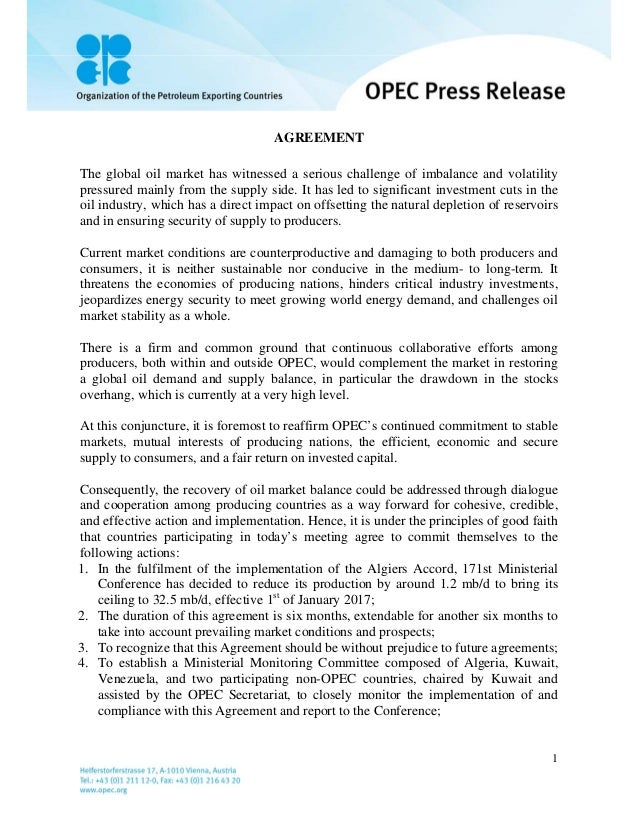 Opec Production Cut Agreement 2016 2017