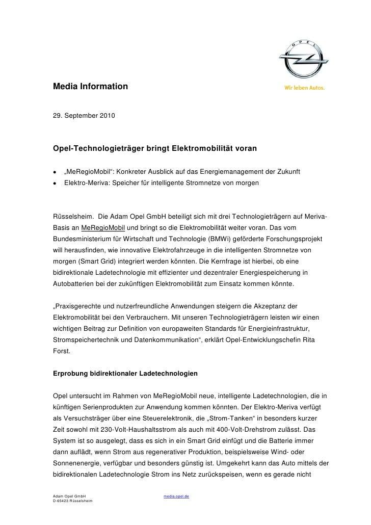 """Media Information29. September 2010Opel-Technologieträger bringt Elektromobilität voran     """"MeRegioMobil"""": Konkreter Ausb..."""