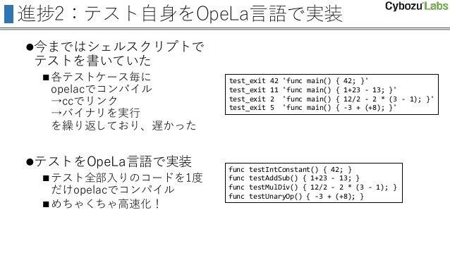 進捗2:テスト自身をOpeLa言語で実装 今まではシェルスクリプトで テストを書いていた 各テストケース毎に opelacでコンパイル →ccでリンク →バイナリを実行 を繰り返しており、遅かった テストをOpeLa言語で実装 テスト全...