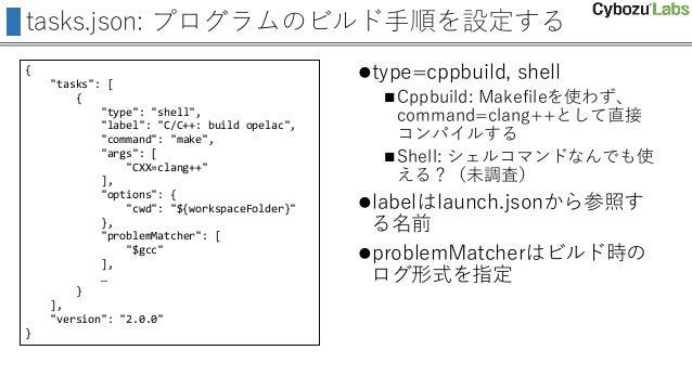 "tasks.json: プログラムのビルド手順を設定する { ""tasks"": [ { ""type"": ""shell"", ""label"": ""C/C++: build opelac"", ""command"": ""make"", ""args"": [ ..."