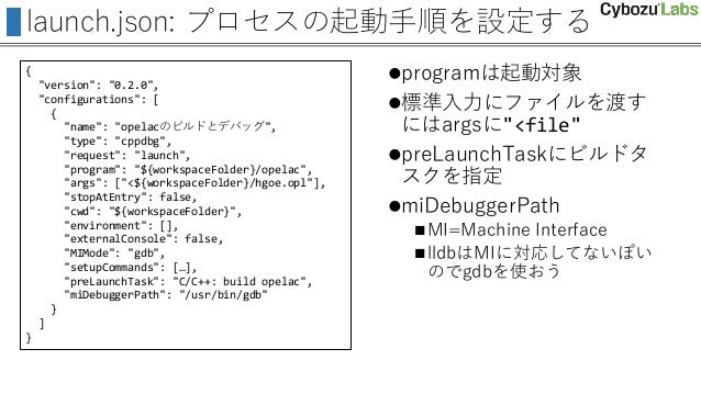 """launch.json: プロセスの起動手順を設定する { """"version"""": """"0.2.0"""", """"configurations"""": [ { """"name"""": """"opelacのビルドとデバッグ"""", """"type"""": """"cppdbg"""", """"requ..."""