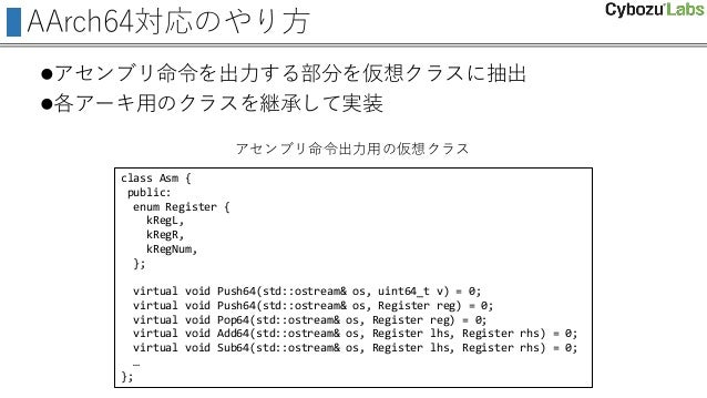 AArch64対応のやり方 アセンブリ命令を出力する部分を仮想クラスに抽出 各アーキ用のクラスを継承して実装 class Asm { public: enum Register { kRegL, kRegR, kRegNum, }; vir...