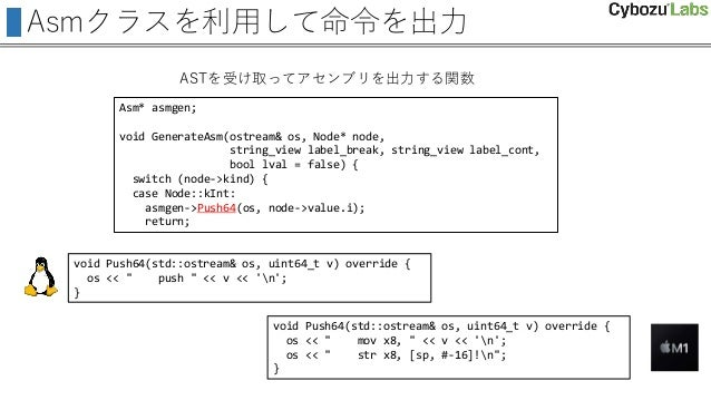 Asmクラスを利用して命令を出力 Asm* asmgen; void GenerateAsm(ostream& os, Node* node, string_view label_break, string_view label_cont, b...