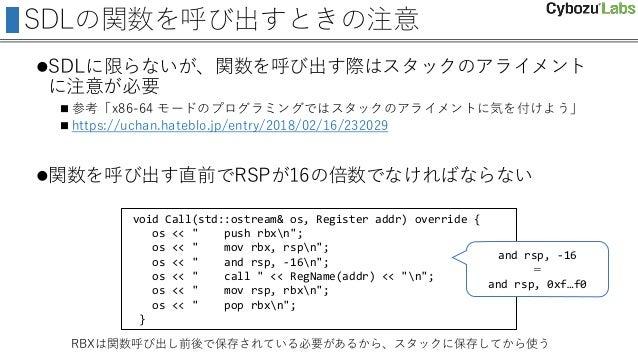 SDLの関数を呼び出すときの注意 SDLに限らないが、関数を呼び出す際はスタックのアライメント に注意が必要  参考「x86-64 モードのプログラミングではスタックのアライメントに気を付けよう」  https://uchan.hateb...
