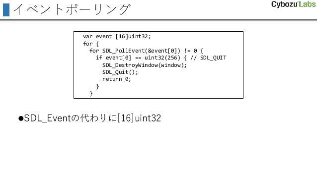 イベントポーリング SDL_Eventの代わりに[16]uint32 var event [16]uint32; for { for SDL_PollEvent(&event[0]) != 0 { if event[0] == uint32(...
