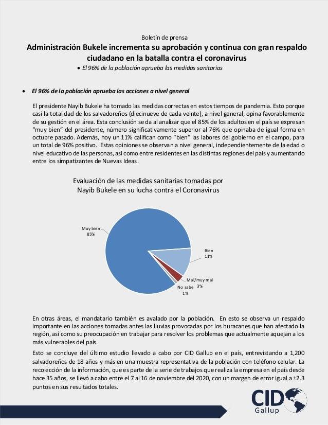 Boletín de prensa Administración Bukele incrementa su aprobación y continua con gran respaldo ciudadano en la batalla cont...