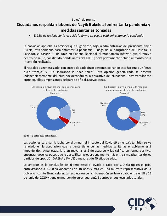 Boletín de prensa Ciudadanos respaldan labores de Nayib Bukele al enfrentar la pandemia y medidas sanitarias tomadas • El ...