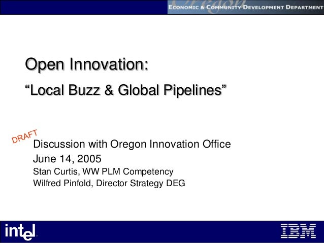 """Open Innovation: """"Local Buzz & Global Pipelines"""" Discussion with Oregon Innovation Office June 14, 2005 Stan Curtis, WW PL..."""