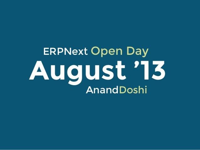 Open Day August 2012 Rushabh Mehta ERPNext