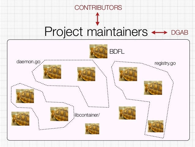 CONTRIBUTORS  Project maintainers  BDFL  DGAB  daemon.go registry.go  libcontainer/