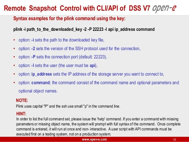 Open-E DSS V7 Remote Snapshot Control with CLI/API