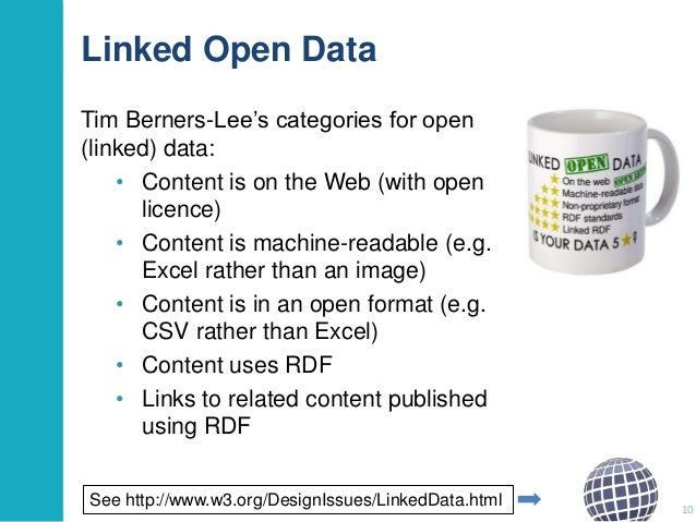 """Linked Open Data Tim Berners-Lee""""s categories for open (linked) data: • Content is on the Web (with open licence) • Conten..."""