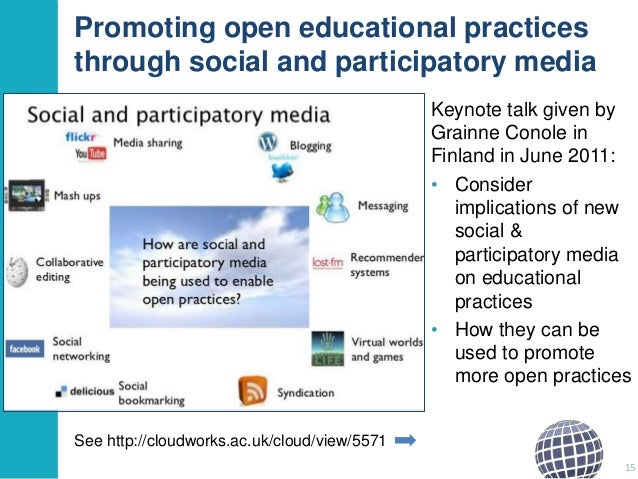 Promoting open educational practices through social and participatory media Keynote talk given by Grainne Conole in Finlan...