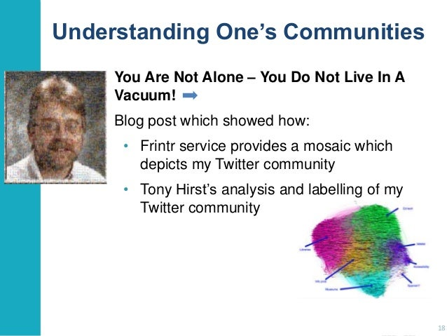 Understanding One's Communities You Are Not Alone – You Do Not Live In A Vacuum! Blog post which showed how: • Frintr serv...