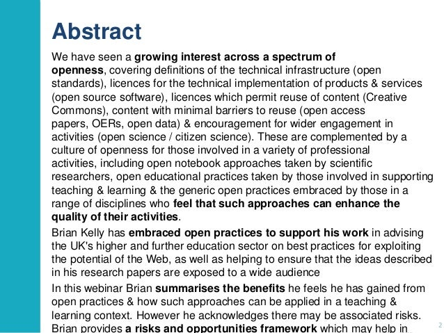 Abstract We have seen a growing interest across a spectrum of openness, covering definitions of the technical infrastructu...