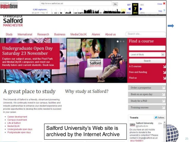 """Salford University""""s Web site is archived by the Internet Archive  25"""