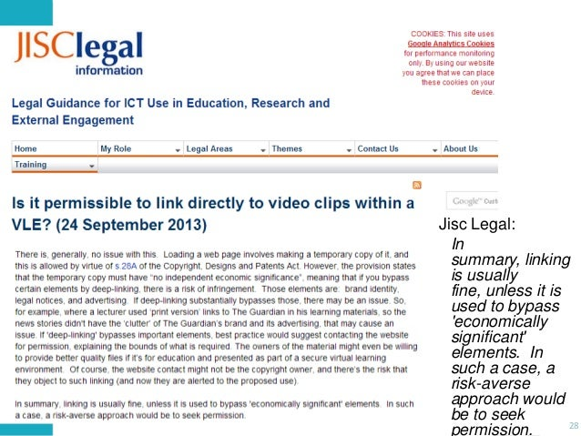 Jisc Legal: In summary, linking is usually fine, unless it is used to bypass 'economically significant' elements. In such ...