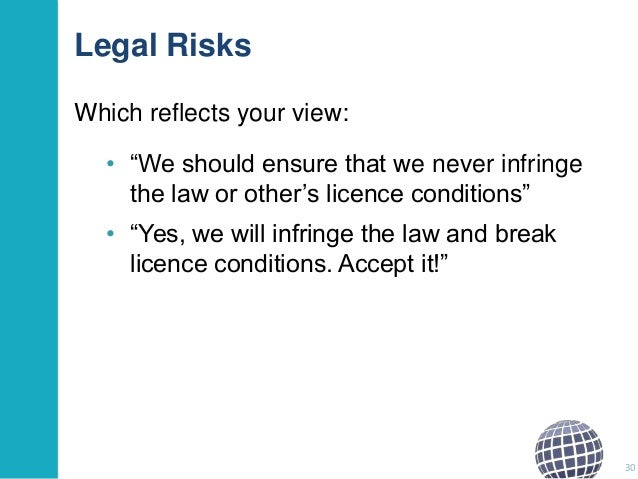 """Legal Risks Which reflects your view: • """"We should ensure that we never infringe the law or other""""s licence conditions"""" • ..."""