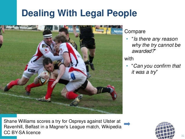 """Dealing With Legal People Compare • """"Is there any reason why the try cannot be awarded?"""" with • """"Can you confirm that it w..."""