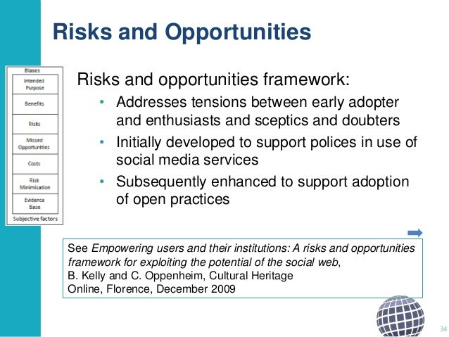 Risks and Opportunities Risks and opportunities framework: • Addresses tensions between early adopter and enthusiasts and ...