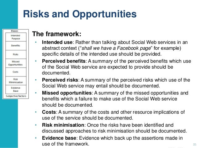 Risks and Opportunities The framework: •  •  • •  •  • •  Intended use: Rather than talking about Social Web services in a...