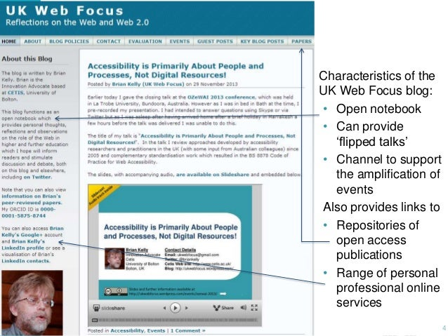 """Characteristics of the UK Web Focus blog: • Open notebook • Can provide """"flipped talks"""" • Channel to support the amplifica..."""