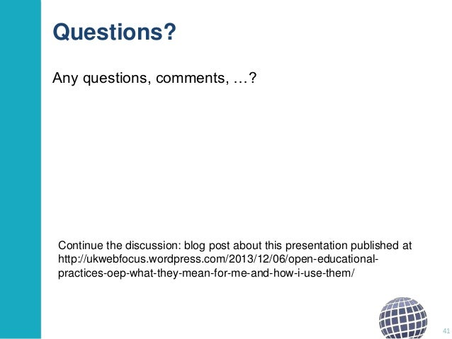 Questions? Any questions, comments, …?  Continue the discussion: blog post about this presentation published at http://ukw...