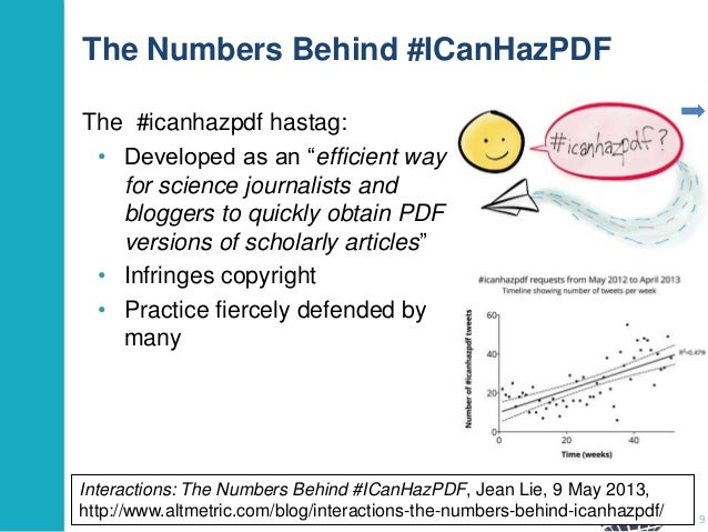 """The Numbers Behind #ICanHazPDF The #icanhazpdf hastag: • Developed as an """"efficient way for science journalists and blogge..."""