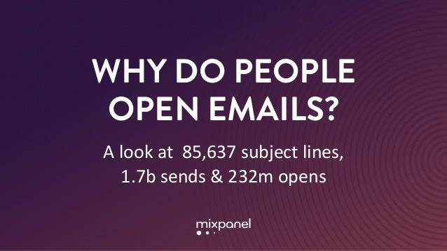 WHY DO PEOPLE OPEN EMAILS? A	look	at		85,637	subject	lines,	 1.7b	sends	&	232m	opens