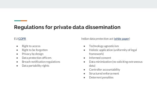 Regulations for private data dissemination EU GDPR ● Right to access ● Right to be forgotten ● Privacy by design ● Data pr...