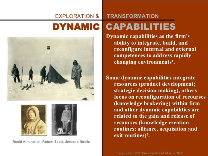 D ynamic capabilities as the firm's ability to integrate, build, and reconfigure internal and external competences to addr...